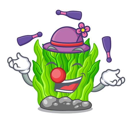 Juggling green seaweed in a cartoon aquarium Ilustração