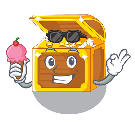 With ice cream underwater treasure in the shape characters Illustration