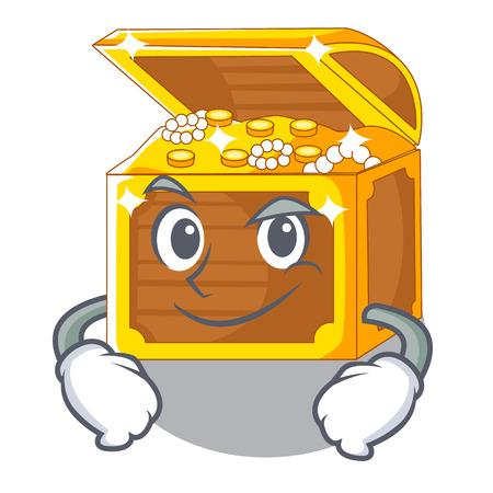 Smirking underwater treasure in the shape characters vector illustration