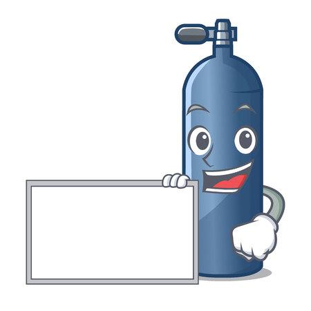 With board air tank diving in cartoon shape vector illustration Illustration