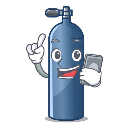 Z telefonem w zbiorniku powietrza do nurkowania w ilustracji wektorowych w kształcie kreskówki .