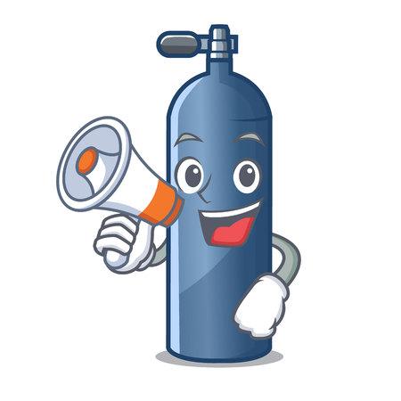 Avec mégaphone réservoir d'air plongée en illustration vectorielle de dessin animé forme Vecteurs
