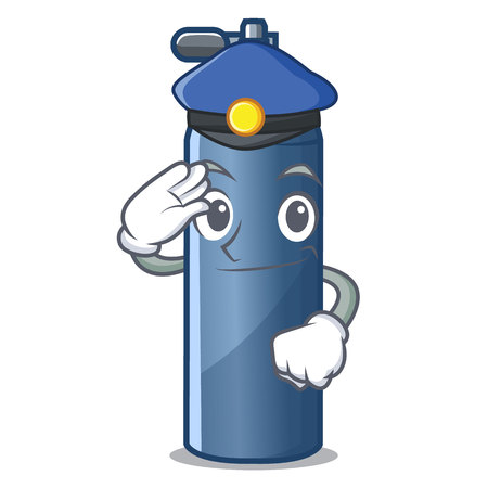 Police air tank diving in cartoon shape vector illustration