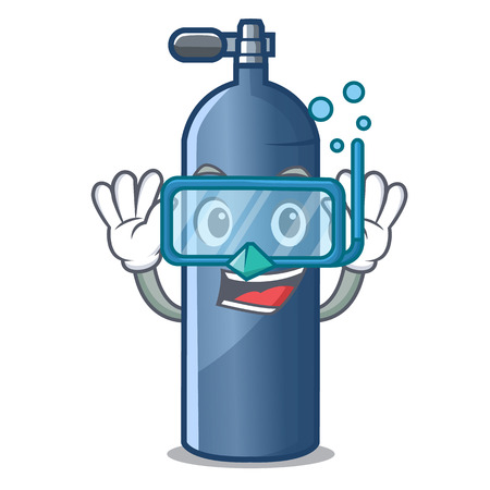 Diving air tank diving isolated the mascot vector illustration