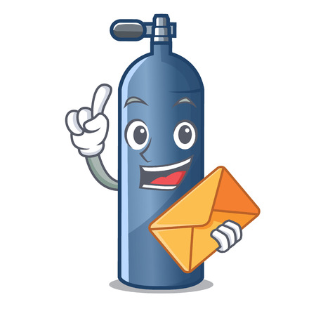 With envelope air tank diving isolated the mascot vector illustration Stock Illustratie