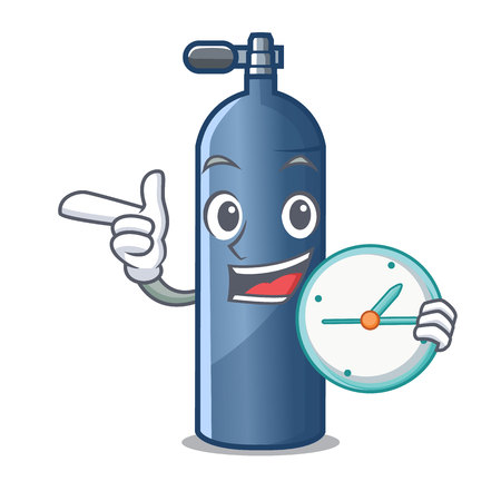 With clock air tank diving isolated the mascot vector illustration