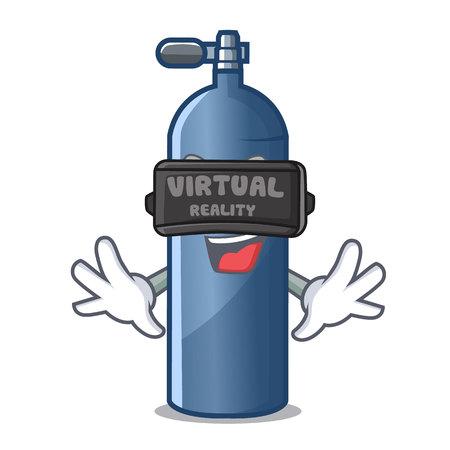 Virtual reality miniature air tank diving character shape vector illustration