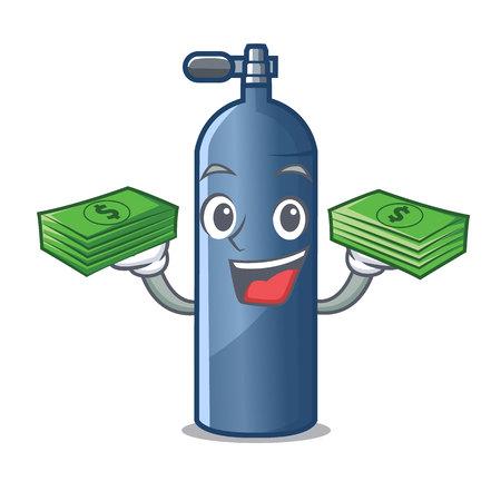 With money bag miniature air tank diving character shape vector illustration Vecteurs
