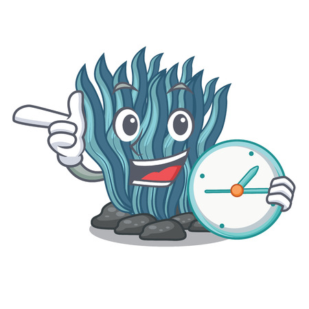 With clock blue seaweed isolated in the character vector illustration