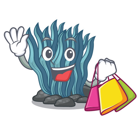 Shopping blue seaweed isolated in the character vector illustration Ilustração