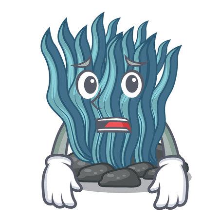 Afraid blue seaweed cartoon under sea water vector illustration