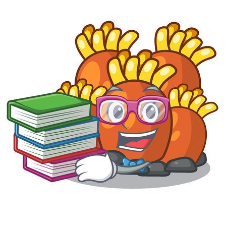Student with book miniature orange coral reef in character vector illustration Vectores
