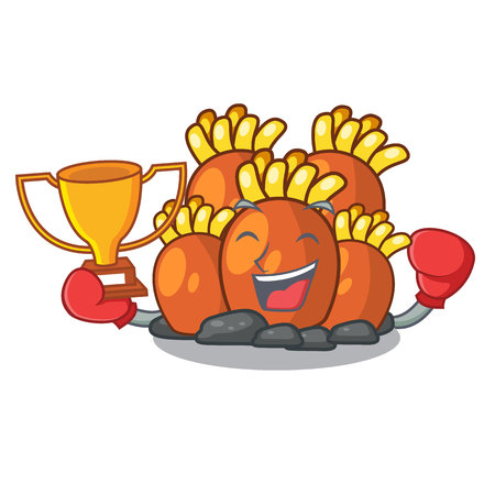 Boxing winner miniature orange coral reef in character vector illustration