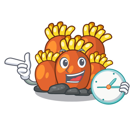 With clock orange coral reef isolated with mascot vector illustration