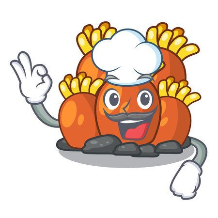 Chef orange coral reef isolated with mascot vector illustration  イラスト・ベクター素材
