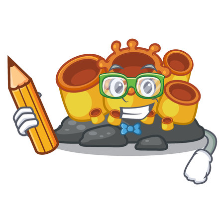 Student orange sponge coral isolated with cartoon vector illustration 向量圖像
