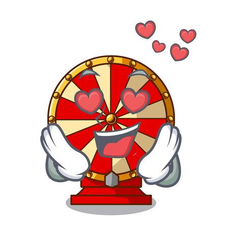 In love spinning wheel beside wooden cartoon table vector illustration Vector Illustratie