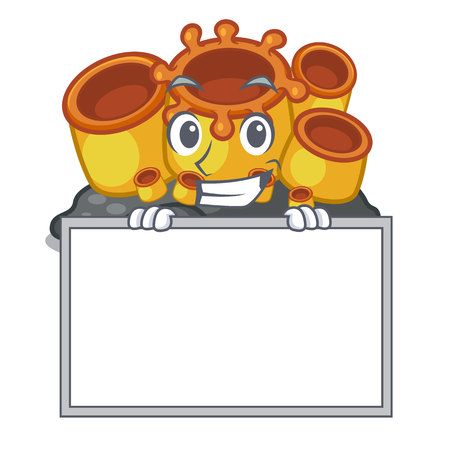 Grinning with board miniature orange sponge coral in character vector illustration