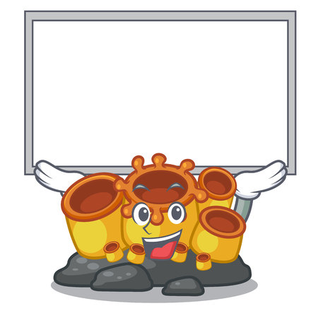 Up board miniature orange sponge coral in character vector illustration