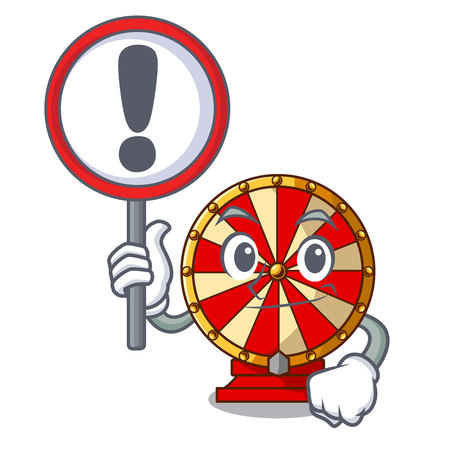 With sign spinning wheel game the mascot shape vector illustration