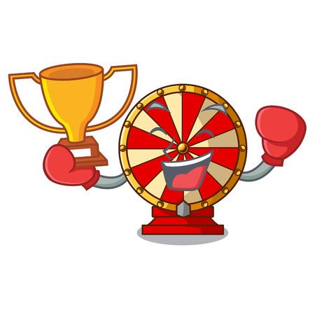 Boxing winner spinning wheel attached the cartoon wall vector illustration