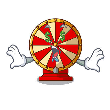 Money eye spinning wheel attached the cartoon wall vector illustration
