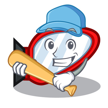 Playing baseball side mirror isolated with the character vector illustration