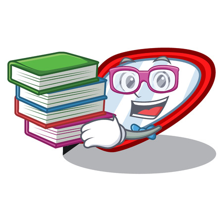 Student with book side mirror next the mascot table vector illustration