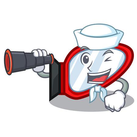 Sailor with binocular side mirror in a cartoon box vector illustration