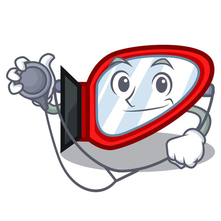 Doctor side mirror isolated with the character vector illustration