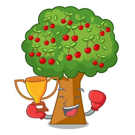 Boxing winner cherry tree next to cartoon house