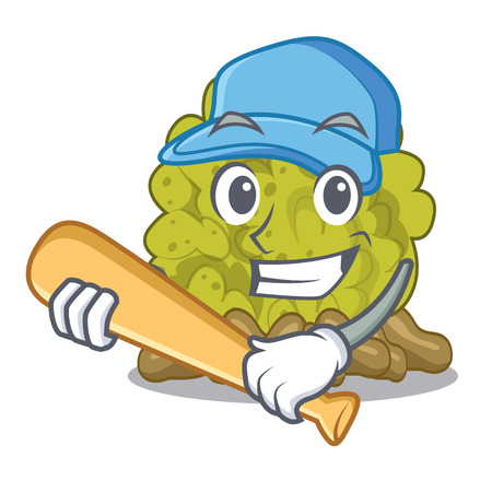 Playing baseball green coral reef in character shape