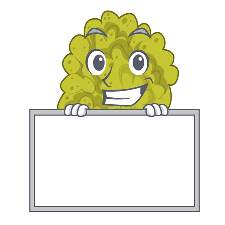 Grinning with board green coral reef in character shape Illustration