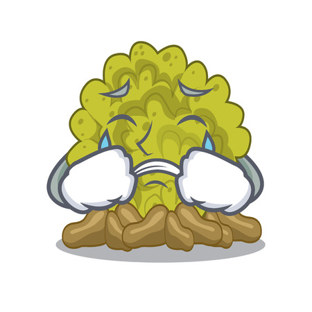 Crying green coral reef isolated with cartoon 向量圖像