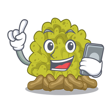 With phone green coral reef in character shape