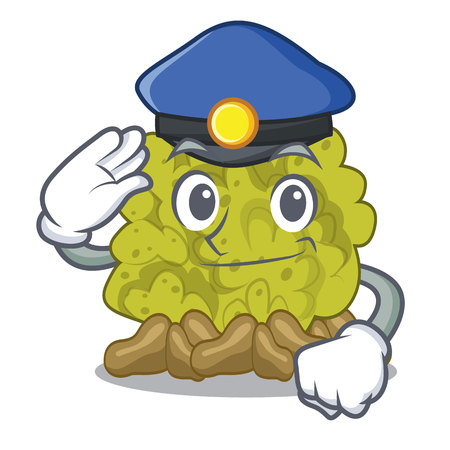Police green coral reef in character shape