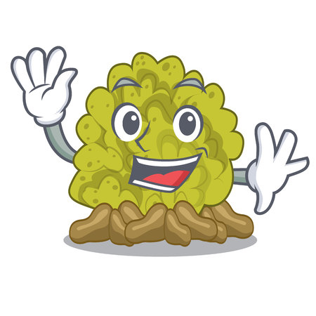 Waving miniature green coral reef with mascot vector illustration