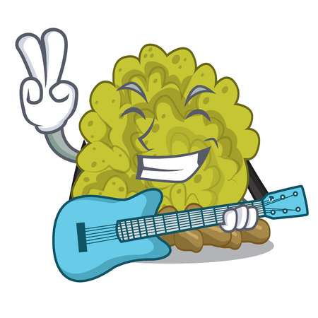 With guitar green coral reef isolated with cartoon vector illustration