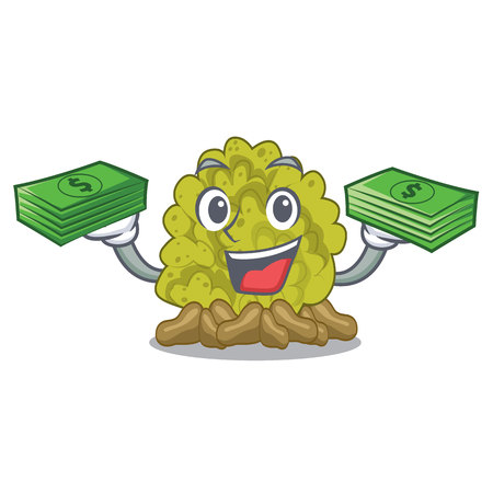 With money bag green coral reef isolated with cartoon vector illustration