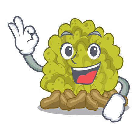 Okay miniature green coral reef with mascot vector illustration
