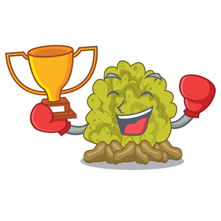 Boxing winner green coral reef toys cartoon shapes vector illustration