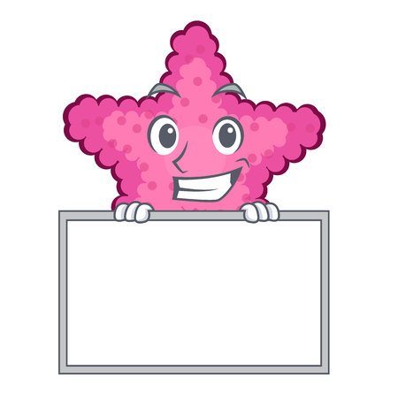 Grinning with board pink starfish isolated with the cartoon vector illustration Illustration