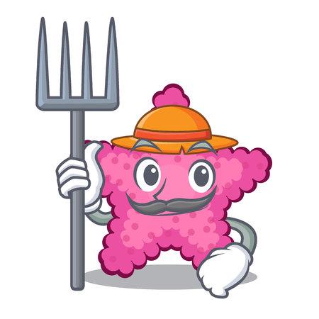 Farmer pink starfish isolated with the cartoon vector illustration Illustration