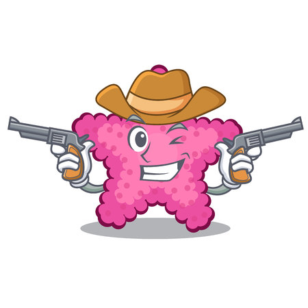 Cowboy pink starfish isolated with the cartoon vector illustration Illustration
