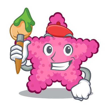 Artist pink starfish isolated with the cartoon vector illustration Illustration