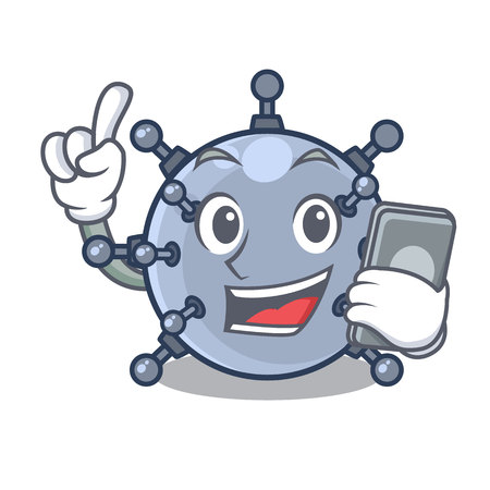 With phone mine underwater isolated with the mascot vector illustration