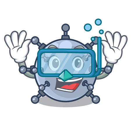 Diving mine underwater in the cartoon shape vector illustration