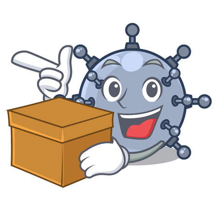 With box mine underwater in the cartoon shape vector illustration Illustration