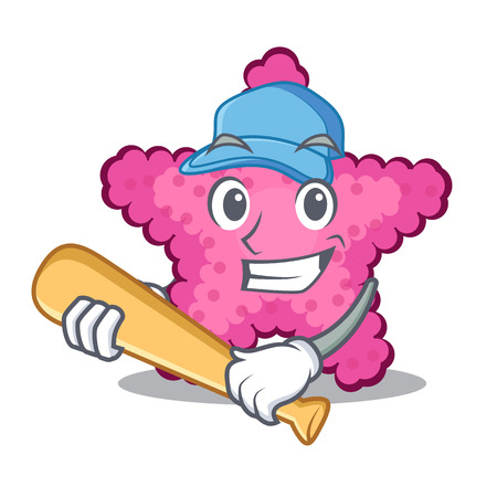 Playing baseball pink starfish isolated with the cartoon vector illustration Illustration