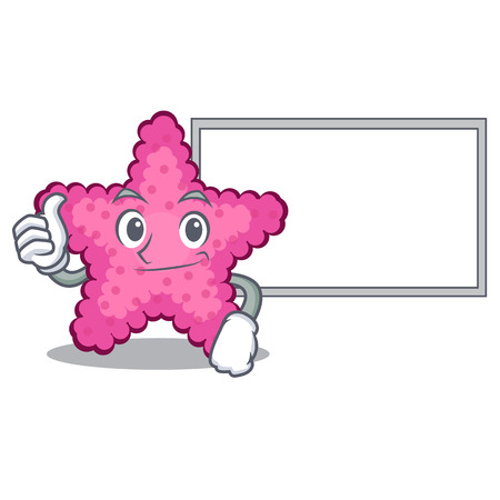 Thumbs up with board pink starfish isolated with the cartoon vector illustration